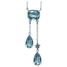 Antique Edwardian Aquamarine Mine cut Diamond Platinum Negligee Necklace