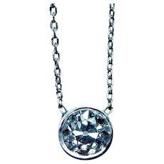 Art DECO Platinum Old European Diamond Solitaire Necklace Estate .50ct VS-H