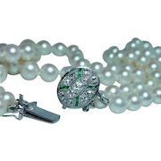 Art Deco Old Miner Mine Diamond French Emerald Genuine Cultured Pearl 14K White Gold Necklace Estate