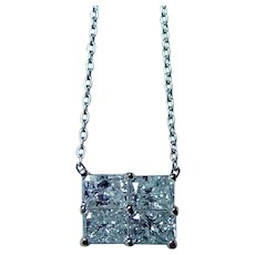 Vintage Princess Cut Diamond Necklace Platinum Estate 1ct