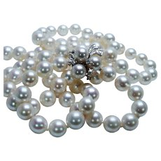 Vintage Akoya Salt Water Pearl Diamond Necklace 14K White Gold Double Strand