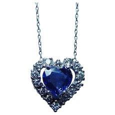 Vintage Platinum Ceylon Sapphire Heart Diamond Necklace Estate - Red Tag Sale Item