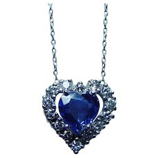 Vintage Platinum Ceylon Sapphire Heart Diamond Necklace Estate