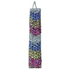 Vintage 18K White Gold Rainbow Sapphire Diamond Pendant Necklace Estate