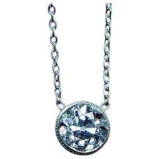 ART DECO Platinum Old European Diamond Solitaire Necklace Estate .45ct
