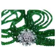 235ct Tsavorite Garnet Diamond 14K White Gold Necklace
