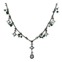 Diamond Dangle Necklace 14K Gold with Tsavorite Garnet