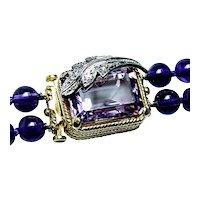 Vintage 14K Gold Amethyst Diamond Clasp Necklace