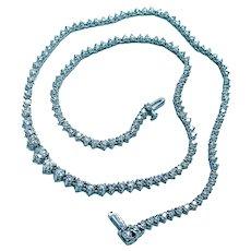 "Estate 6ct Diamond Tennis Riviera Necklace 14K White Gold 17"""