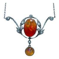 Victorian Old European Diamond Fire Opal Necklace Lavalier Platinum