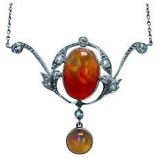 Victorian Old European Diamond Fire Opal Necklace Lavalier Platinum