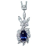 Natural Gem Sapphire Diamond Necklace 18K White Gold GIA Cert