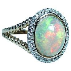 Vintage Diamond Opal Halo Ring 14K Gold Estate