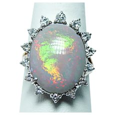 Giant 11ct Gem Semi Black Opal Diamond Ring 14K Gold VIDEO  Size 10.25