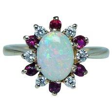 Vintage Opal Diamond Ruby Halo Ring 14K Gold Estate A Jaffe Designer