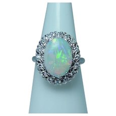 Vintage 14K White Gold Opal Diamond Ring Estate VS-F