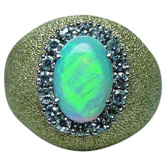 Vintage Diamond Opal Halo Ring 18K Gold Heavy Estate