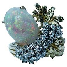 Giant Vintage Gem Opal Colorless Diamond Cocktail Ring 18K Gold Estate