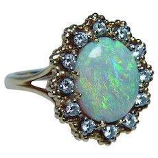 Jabel Vintage Opal Diamond 18K Gold Ring Estate