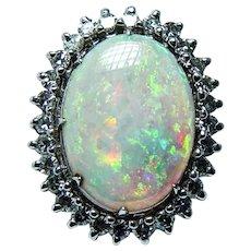 Vintage Giant Opal Diamond Ring 14K White Gold Heavy Gem Quality