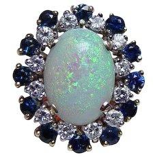 Vintage Opal Diamond Sapphire Cocktail Ring 18K Gold Giant Estate Sz 9.25