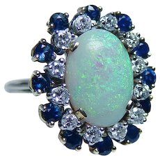 Giant Opal Diamond Sapphire Cocktail Ring 18K Gold Size 9.25