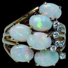 Spritzer & Fuhrmann Vintage 18K Gold Opal Diamond Ring Estate