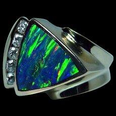 Vintage Diamond Black Opal Inlay Ring 14K Gold HEAVY Estate