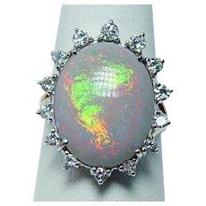 Giant Vintage 11ct Gem Opal Diamond Ring 14K Gold Estate Jewelry Size 10.25 VIDEO