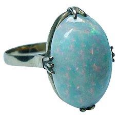Vintage 8ct Opal Solitaire Filigree Mounting Ring 18K Gold Estate Huge Opal