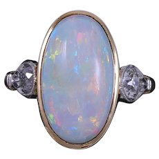 Antique Edwardian Opal Old European cut Diamond Ring 14K Gold Platinum Estate