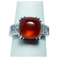 Designer Cushion Fire Opal Princess Diamond Ring 18K White Gold Heavy