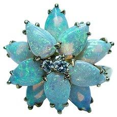 Kurt Wayne Vintage Opal Diamond Ring 18K Gold Estate Designer