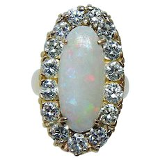 Giant Vintage Opal 2.10ct VS-H Diamonds Ring 18K Gold Heavy Estate Jewelry