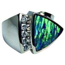 Diamond Black Opal Inlay Ring 14K Gold HEAVY
