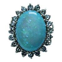 Giant Vintage 7ct Opal Diamond Cocktail Ring 14K Gold Heavy Estate