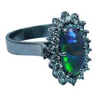 Vintage Black Opal Diamond Ring 18K White Gold Estate