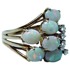 Spritzer & Fuhrmann 18K Gold Opal Diamond Ring Designer