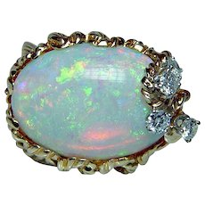 Vintage Diamond Gem Opal Ring 18K Gold Fine Heavy Estate
