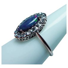 Antique Opal Rose cut Diamond Ring 14K Gold Lovely Mounting
