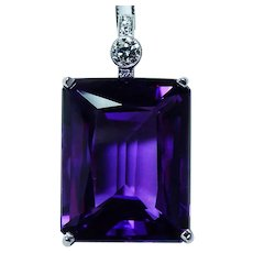 Vintage Giant 25ct Amethyst Old European Diamond 14K White Gold Pendant