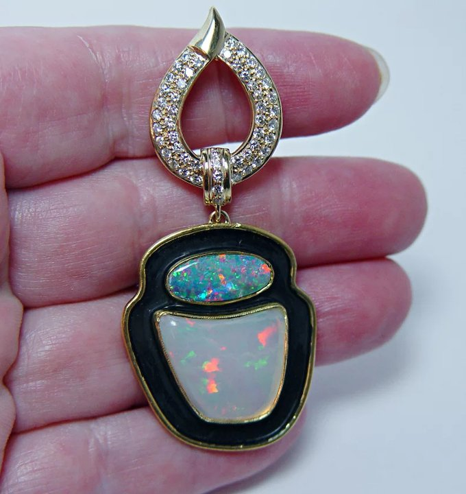 Designer signed giant diamond opal pendant 18k gold estate jewelry designer signed giant diamond opal pendant 18k gold estate jewelry aloadofball Images