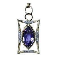 Jude Frances 18K Gold Diamond Amethyst Pendant Charm Designer Large
