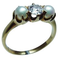 Antique Black Starr & Frost Old European Diamond 18K Gold Pearl Ring