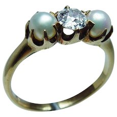 Antique Black Starr & Frost Old European Diamond 18K Gold Pearl Ring Estate