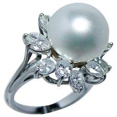 18K Gold Genuine  South Sea Pearl Oval Diamond Halo Ring GIA