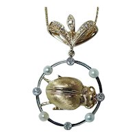 18K Gold Old European Diamond Beetle Pendant
