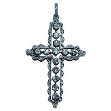 ART DECO 18K Gold Platinum European Diamond Cross Pendant 2ct Estate