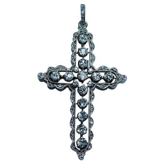 ART DECO 18K Gold Platinum European Diamond Cross Pendant 2ct Estate