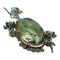 Giant Vintage Diamond Citrine Angel Cherub Pendant 14K Gold 43ct